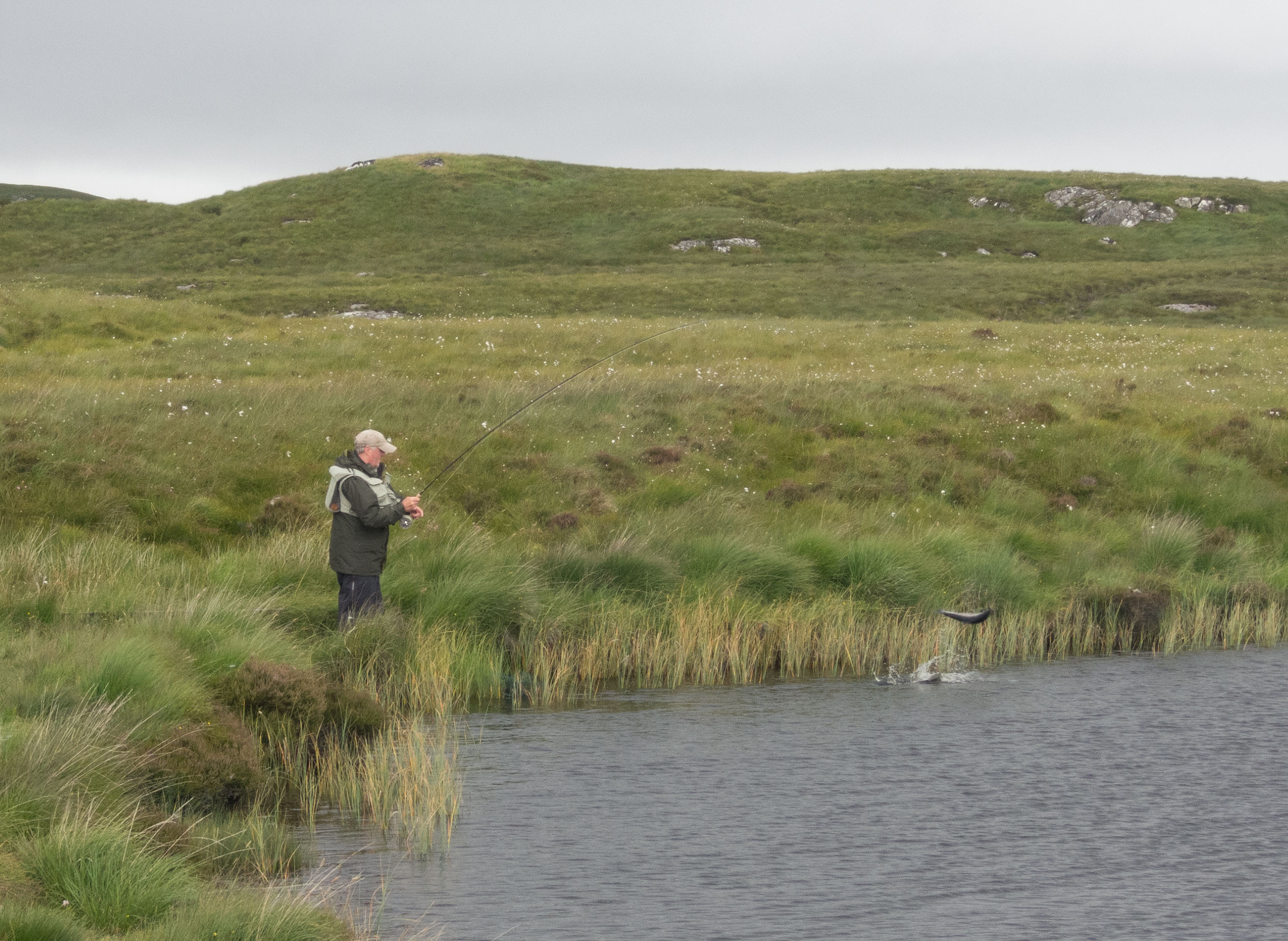 Isle of Lewis angler fighting a salmon