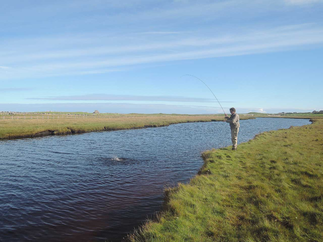 Playing a sea trout on the Isle of Lewis