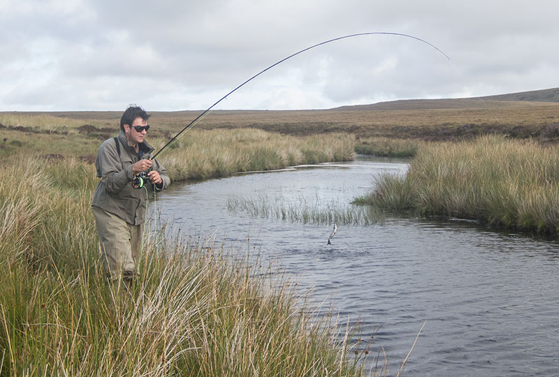 A Dutch guest catching his first sea trout on Lewis